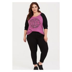 Torrid Purple 3/4 Sleeve Vibes T-Shirt Sz.1 NWT